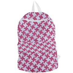 HOUNDSTOOTH2 WHITE MARBLE & PINK DENIM Foldable Lightweight Backpack