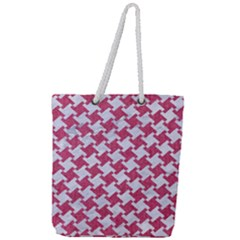Houndstooth2 White Marble & Pink Denim Full Print Rope Handle Tote (large)