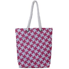 HOUNDSTOOTH2 WHITE MARBLE & PINK DENIM Full Print Rope Handle Tote (Small)