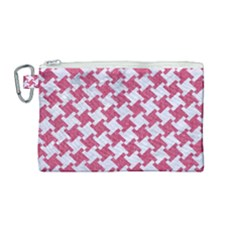 HOUNDSTOOTH2 WHITE MARBLE & PINK DENIM Canvas Cosmetic Bag (Medium)