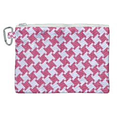 HOUNDSTOOTH2 WHITE MARBLE & PINK DENIM Canvas Cosmetic Bag (XL)