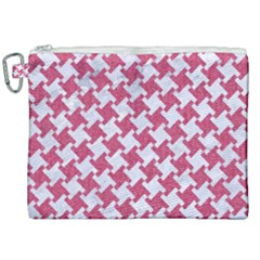 Houndstooth2 White Marble & Pink Denim Canvas Cosmetic Bag (xxl) by trendistuff