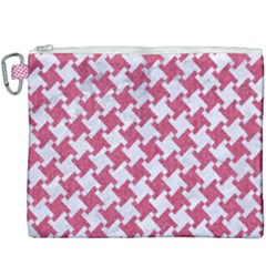 HOUNDSTOOTH2 WHITE MARBLE & PINK DENIM Canvas Cosmetic Bag (XXXL)