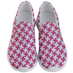 Houndstooth2 White Marble & Pink Denim Men s Lightweight Slip Ons