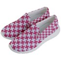 HOUNDSTOOTH2 WHITE MARBLE & PINK DENIM Men s Lightweight Slip Ons View2