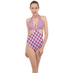 HOUNDSTOOTH2 WHITE MARBLE & PINK DENIM Halter Front Plunge Swimsuit