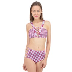 HOUNDSTOOTH2 WHITE MARBLE & PINK DENIM Cage Up Bikini Set
