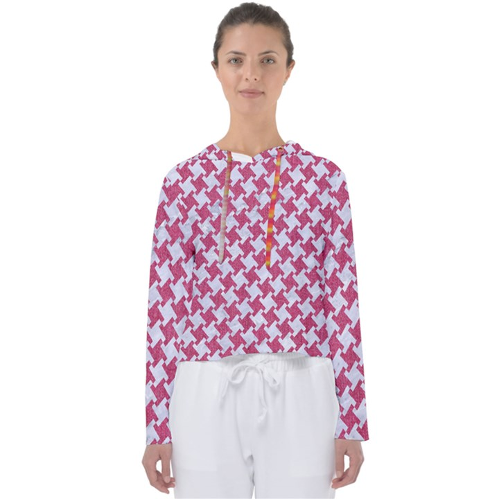 HOUNDSTOOTH2 WHITE MARBLE & PINK DENIM Women s Slouchy Sweat