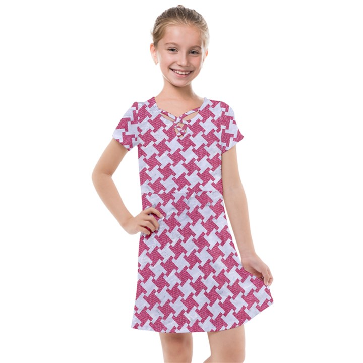 HOUNDSTOOTH2 WHITE MARBLE & PINK DENIM Kids  Cross Web Dress