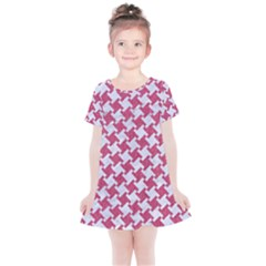 HOUNDSTOOTH2 WHITE MARBLE & PINK DENIM Kids  Simple Cotton Dress