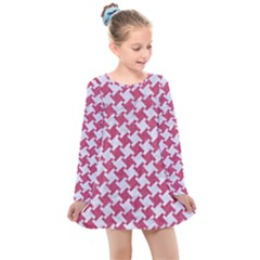 HOUNDSTOOTH2 WHITE MARBLE & PINK DENIM Kids  Long Sleeve Dress