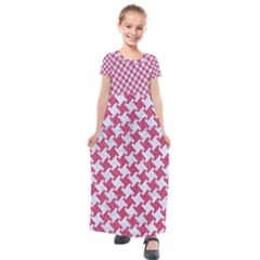HOUNDSTOOTH2 WHITE MARBLE & PINK DENIM Kids  Short Sleeve Maxi Dress