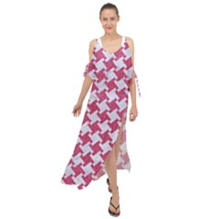 HOUNDSTOOTH2 WHITE MARBLE & PINK DENIM Maxi Chiffon Cover Up Dress