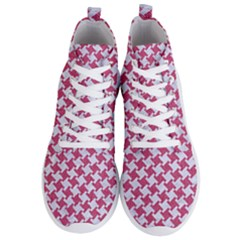 Houndstooth2 White Marble & Pink Denim Men s Lightweight High Top Sneakers