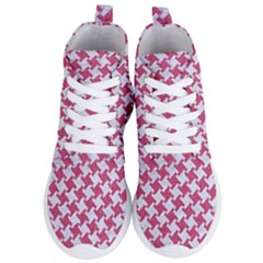 HOUNDSTOOTH2 WHITE MARBLE & PINK DENIM Women s Lightweight High Top Sneakers