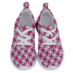 Houndstooth2 White Marble & Pink Denim Running Shoes