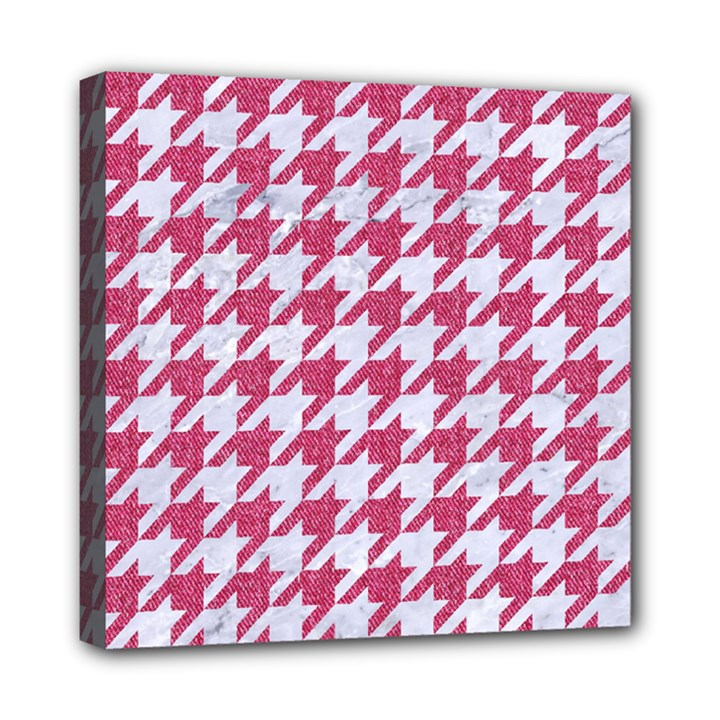 HOUNDSTOOTH1 WHITE MARBLE & PINK DENIM Mini Canvas 8  x 8