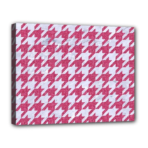 Houndstooth1 White Marble & Pink Denim Canvas 14  X 11