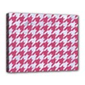 HOUNDSTOOTH1 WHITE MARBLE & PINK DENIM Canvas 14  x 11  View1
