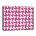 HOUNDSTOOTH1 WHITE MARBLE & PINK DENIM Canvas 16  x 12  View1