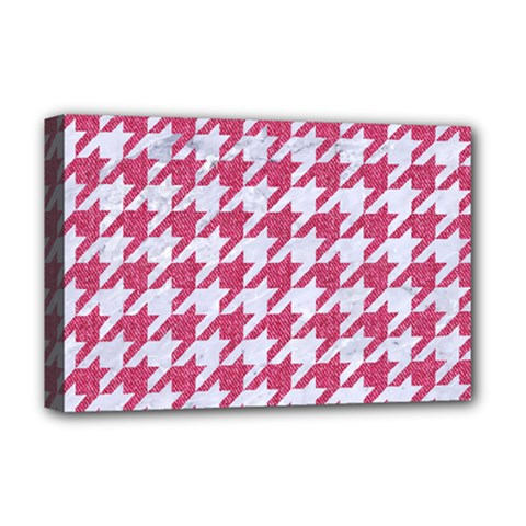 Houndstooth1 White Marble & Pink Denim Deluxe Canvas 18  X 12   by trendistuff