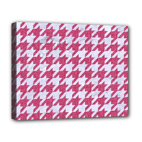 Houndstooth1 White Marble & Pink Denim Deluxe Canvas 20  X 16   by trendistuff