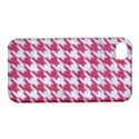 HOUNDSTOOTH1 WHITE MARBLE & PINK DENIM Apple iPhone 4/4S Hardshell Case with Stand View1