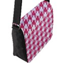 HOUNDSTOOTH1 WHITE MARBLE & PINK DENIM Flap Messenger Bag (L)  View2