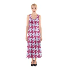 Houndstooth1 White Marble & Pink Denim Sleeveless Maxi Dress by trendistuff
