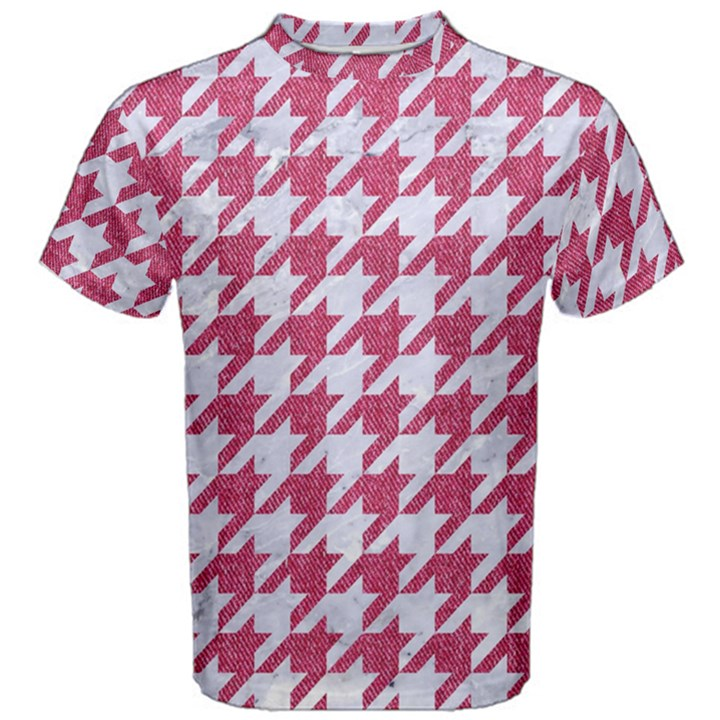 HOUNDSTOOTH1 WHITE MARBLE & PINK DENIM Men s Cotton Tee