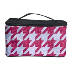 Houndstooth1 White Marble & Pink Denim Cosmetic Storage Case
