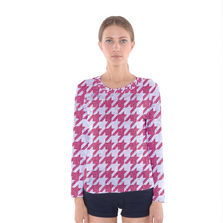 HOUNDSTOOTH1 WHITE MARBLE & PINK DENIM Women s Long Sleeve Tee