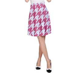 Houndstooth1 White Marble & Pink Denim A Line Skirt by trendistuff