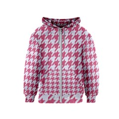 Houndstooth1 White Marble & Pink Denim Kids  Zipper Hoodie