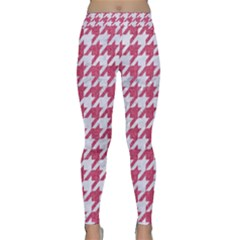 Houndstooth1 White Marble & Pink Denim Classic Yoga Leggings by trendistuff