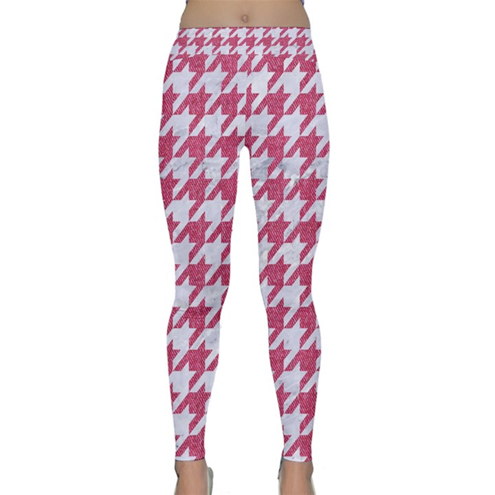 HOUNDSTOOTH1 WHITE MARBLE & PINK DENIM Classic Yoga Leggings