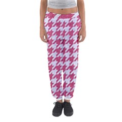 Houndstooth1 White Marble & Pink Denim Women s Jogger Sweatpants by trendistuff