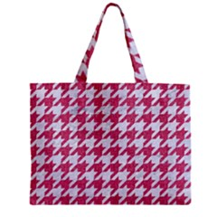 Houndstooth1 White Marble & Pink Denim Zipper Mini Tote Bag by trendistuff