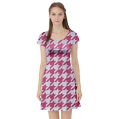 Houndstooth1 White Marble & Pink Denim Short Sleeve Skater Dress