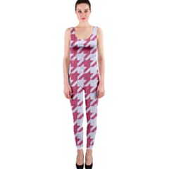 Houndstooth1 White Marble & Pink Denim One Piece Catsuit by trendistuff