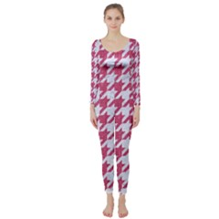 Houndstooth1 White Marble & Pink Denim Long Sleeve Catsuit