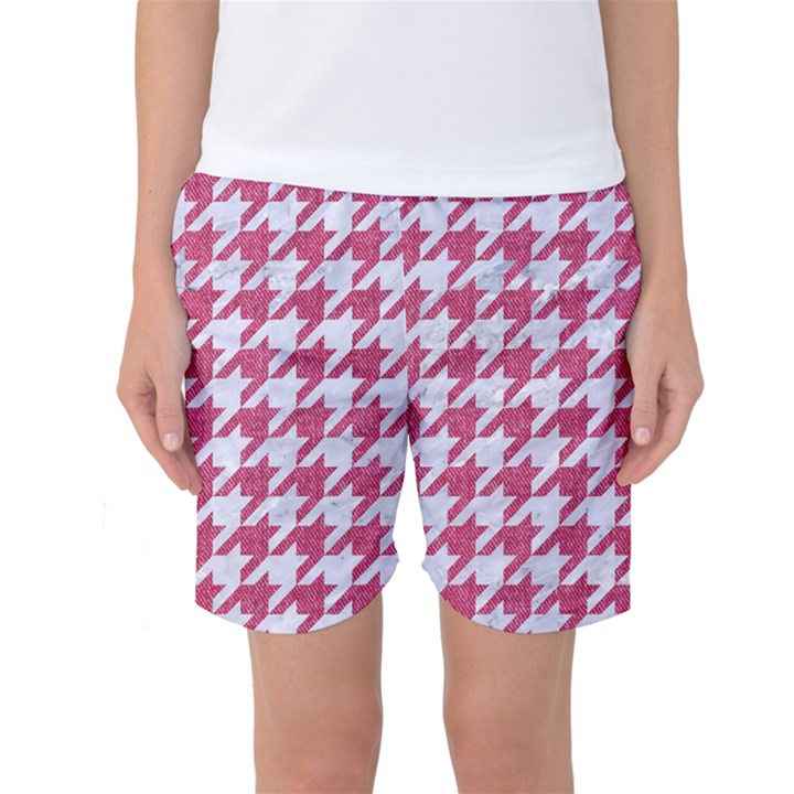 HOUNDSTOOTH1 WHITE MARBLE & PINK DENIM Women s Basketball Shorts