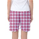 HOUNDSTOOTH1 WHITE MARBLE & PINK DENIM Women s Basketball Shorts View2