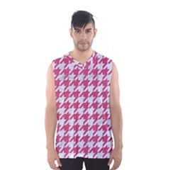 Houndstooth1 White Marble & Pink Denim Men s Basketball Tank Top by trendistuff