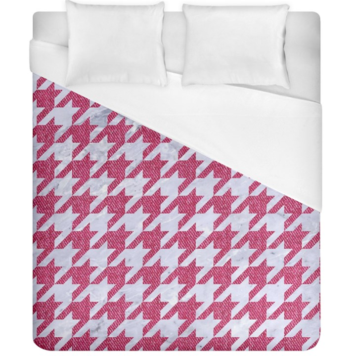 HOUNDSTOOTH1 WHITE MARBLE & PINK DENIM Duvet Cover (California King Size)
