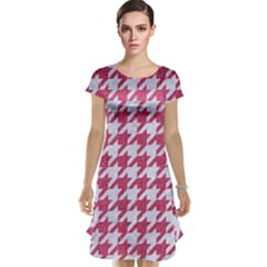 Houndstooth1 White Marble & Pink Denim Cap Sleeve Nightdress