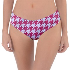 Houndstooth1 White Marble & Pink Denim Reversible Classic Bikini Bottoms by trendistuff