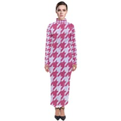 Houndstooth1 White Marble & Pink Denim Turtleneck Maxi Dress