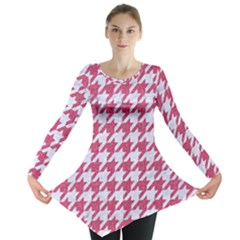 Houndstooth1 White Marble & Pink Denim Long Sleeve Tunic