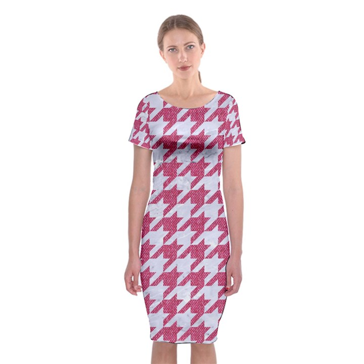 HOUNDSTOOTH1 WHITE MARBLE & PINK DENIM Classic Short Sleeve Midi Dress